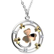 Irish Necklace - Sterling Silver Shamrock Circle Pendant