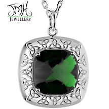 Irish Necklace - Sterling Silver Green Quartz Trinity Knot Pendant