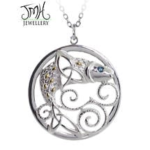Irish Necklace - Sterling Silver 'The Legend of the Salmon of Knowledge' Pendant