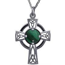 Irish Necklace - Sterling Silver Malachite Openwork Celtic Cross Pendant