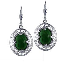 Irish Earrings - Sterling Silver Celtic Earrings with Malachite