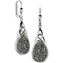 Celtic Earrings - Sterling Silver Celtic Knot Black  Drusy Drop Earrings