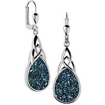Celtic Earrings - Sterling Silver Celtic Knot Drusy Drop Earrings Blue