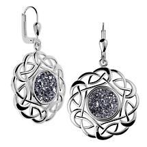Celtic Earrings - Sterling Silver Round Celtic Knot Black  Drusy Earrings