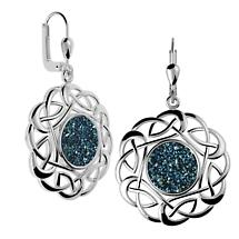 Celtic Earrings - Sterling Silver Round Celtic Knot Drusy Earrings Blue