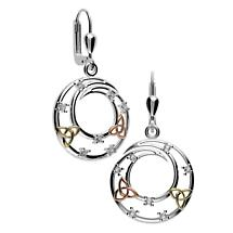 Irish Earrings - Sterling Silver Trinity Knot Circle Earrings