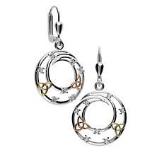 Irish Earrings - Sterling Silver Trinity Knot Circle Earrings