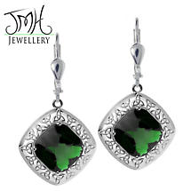 Irish Earrings - Sterling Silver Green Quartz Trinity Knot Earrings