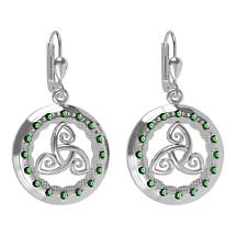 Irish Earrings - Sterling Silver with Green CZ Stones 'Tir na nOg' Celtic Earrings
