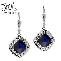 Irish Earrings - Sterling Silver Blue Quartz Cable Celtic Weave Earrings