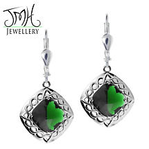 Irish Earrings - Sterling Silver Green Quartz Cable Celtic Weave Earrings