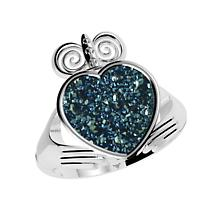 Claddagh Ring - Drusy Blue