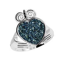 Claddagh Ring - Drusy Blue