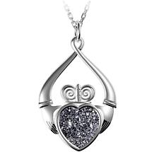 Irish Necklace - Claddagh Black  Drusy Pendant
