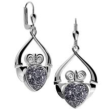 Irish Earrings - Claddagh Black Drusy Earrings