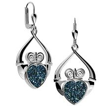 Irish Earrings - Sterling Silver Claddagh Drusy Earrings Blue