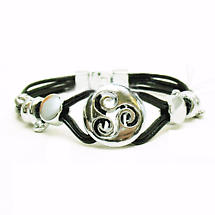 Celtic Bracelet - Celtic Triskele Leather Bracelet