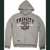 Irish Sweatshirt - Trinity Full Zip Hooded Sweatshirt - Grey