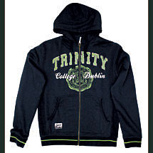 Irish Sweatshirt - Trinity Full Zip Hooded Sweatshirt - Navy