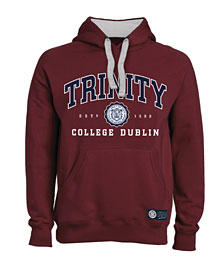 Irish Sweatshirt - Trinity Collegiate Seal Hooded Sweatshirt - Burgundy