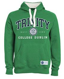 Irish Sweatshirt - Trinity Collegiate Seal Hooded Sweatshirt - Green