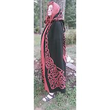 Celtic Knot Cotton Cape - Red on Black