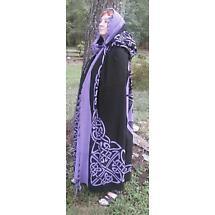 Celtic Knot Cotton Cape - Purple on Black