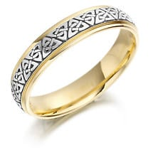 Trinity Knot Wedding Ring - Ladies Two Tone Trinity Celtic Knot Irish Wedding Band