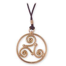 Grange Irish Jewelry - Gold Tone Triskele Pendant on Cord