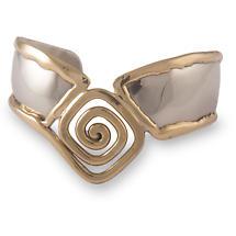 Grange Irish Jewelry - Two Tone Celtic Spiral 'V' Shape Bangle