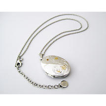 Jean Butler Jewelry Irish Necklace - Sterling Silver Wild Flowers Locket with Chain