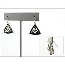 Celtic Earrings - 3D Trinity Knot Earrings - Silvertone