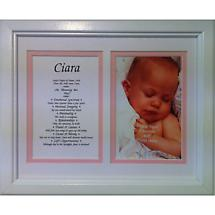Personalized 8 x 10 First Name with Photo Matted & Framed Print - Pink