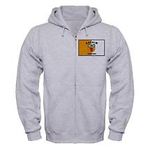 Irish Sweatshirt - Irish County Full Zip Hooded Sweatshirt Full Chest - Grey