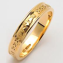 Irish Wedding Ring - Ladies Narrow Corrib Claddagh Wedding Band