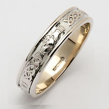 Irish Wedding Ring - Men's Narrow Corrib Claddagh Wedding Band