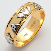 Irish Wedding Ring - Men's Gold Two Tone Claddagh Trinity Knot Wide Wedding Band
