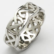 Irish Wedding Ring - Celtic Knot Wide Pierced Sheelin Mens Wedding Band