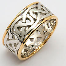 Irish Wedding Ring - Mens Celtic Knot Wide Pierced Sheelin Wedding Band with Yellow Gold Rims