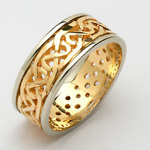 Irish Wedding Ring - Mens Celtic Knot Pierced Sheelin Wedding Band Yellow Gold with White Gold Rims