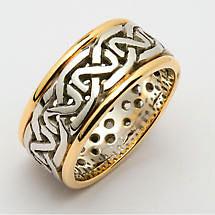 Irish Wedding Ring - Mens Celtic Knot Pierced Sheelin Wedding Band with Yellow Gold Rims