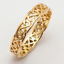 Irish Wedding Ring - Celtic Knot Narrow Pierced Sheelin Ladies Wedding Band