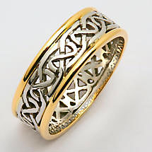 Irish Wedding Ring - Ladies Celtic Knot Narrow Pierced Sheelin Wedding Band with Yellow Gold Rims