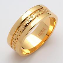 Irish Wedding Ring - Ladies Gold Claddagh Corrib Wedding Band with Rims