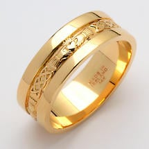 Irish Wedding Ring - Men's Gold Claddagh Corrib Wedding Band with Rims