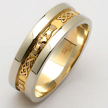 Irish Wedding Ring - Men's Yellow Gold With White Gold Rims Claddagh Wedding Band