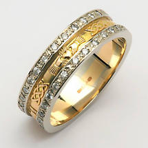 Irish Wedding Ring - Ladies 14k Gold Diamond Pave Celtic Knot Claddagh Ring