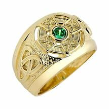 Celtic Ring - Men's Yellow Gold Celtic Ring with Emerald