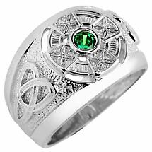 Celtic Ring - Men's White Gold Celtic Ring with Emerald