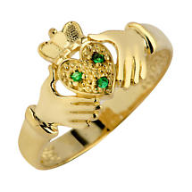 Claddagh Ring - Ladies Yellow Gold Claddagh Ring with Emeralds